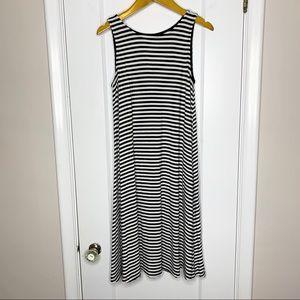 Old Navy black & white stripe swing dress Small